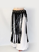 Belly Dance Hip Scarves Women's Performance Polyester Sequined Tassels Waist Accessory