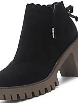preiswerte -Damen Schuhe Gummi Winter Springerstiefel Stiefel Runde Zehe Für Schwarz Dunkelbraun