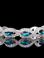 Women's Chain Bracelet Synthetic Sapphire Rhinestone Vintage Elegant Silver Circle Jewelry For Wedding Evening Party