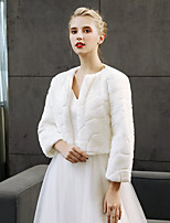 cheap -3/4 Length Sleeves Faux Fur Wedding Party / Evening Women's Wrap Shrugs