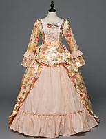 Victorien Rococo Féminin Adulte Costume de Soirée Bal Masqué Rose Cosplay Satin Stretch Sans Manches Longueur Sol