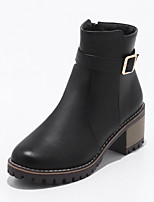 cheap -Women's Shoes Leatherette Winter Fashion Boots Boots Chunky Heel Round Toe Booties/Ankle Boots Buckle For Casual Dress Almond Black White