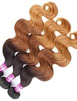 3 Peças Preto / Medium Brown / louro da morango Ondulado Cabelo Indiano Tramas de cabelo humano Extensões de cabelo