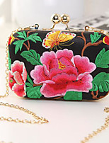 Women Bags PU Evening Bag Buttons Embroidery for Casual All Season Black