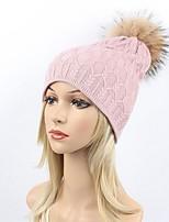 Для женщин Для вечеринки На каждый день Широкополая шляпа Лыжная шапочка,Зима Осень Шерсть Акрил Мех енота В полоску Однотонный Чистый