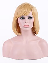 Women Synthetic Wig Capless Short Honey Blonde Bob Haircut Layered Haircut With Bangs Lolita Wig Party Wig Halloween Wig Natural Wigs