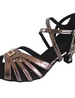 Women's Latin Leatherette Sandal Indoor Customized Heel Gray