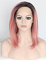 cheap -Ombre Pink with Dark Roots Synthetic Lace Front Wig Glueless Heat Resistant Fiber Hair Bob Hairstyle Party/Cosplay/Halloween Natural Straight Wig