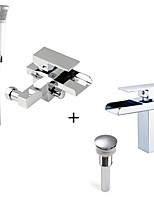 Comtemporary Tub And Shower Waterfall Handshower Included with  Ceramic Valve One Hole for  Chrome , Bathtub Faucet