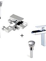 Современный Ванна и душ Водопад Ручная лейка входит в комплект Керамический клапан Одно отверстие Хром , Смеситель для ванны