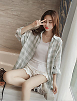 cheap -Women's Daily Going out Active Shirt,Plaid Shirt Collar Long Sleeves Cotton Polyester
