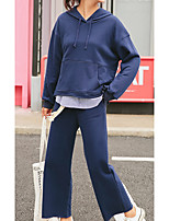 Women's Going out Casual/Daily Simple Fall Hoodie Pant Suits,Solid Hooded Long Sleeve