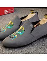 Для мужчин обувь Нубук Весна Осень Удобная обувь Мокасины и Свитер Назначение Повседневные Черный Серый