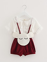 cheap -Girls' Solid Clothing Set,Cotton Summer Short Sleeve Cute White