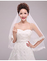 cheap -One-tier Modern/Contemporary Modern Style Simple Style Bridal Princess Wedding Wedding Veil Elbow Veils 53 Applique Sequin Paillette Lace