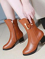 cheap -Women's Shoes Real Leather Winter Fashion Boots Boots Mid-Calf Boots For Casual Black