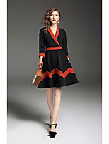 Women's Daily Going out Sheath Swing Dress,Color Block V Neck Midi Long Sleeves Polyester Mid Rise Inelastic Medium