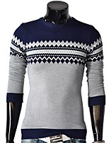 Men's Daily Sports Casual Regular Pullover,Color Block Round Neck Long Sleeves Polyester Winter Opaque Translucent strenchy