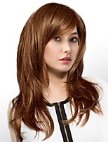 cheap -Women Human Hair Capless Wigs Medium Auburn Honey Blonde Black Long Natural Wave Side Part
