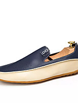 Men's Shoes Synthetic Microfiber PU Spring Fall Moccasin Loafers & Slip-Ons For Outdoor Blue Beige