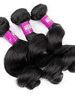 3 Pieces Natural Black Loose Wave Peruvian Human Hair Weaves Hair Extensions