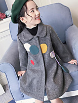 Girls' Solid Down & Cotton Padded,Cotton Long Sleeves Brown Black Gray
