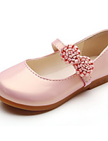 cheap -Girls' Shoes PU Spring Fall Comfort Flower Girl Shoes Flats Walking Shoes Applique Gore for Casual Gold White Black Pink
