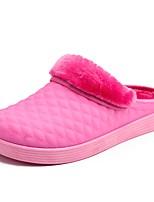 Для женщин Обувь Полиуретан Зима Осень Удобная обувь Флисовая подкладка Тапочки и Шлепанцы Плоские Круглый носок для Повседневные Лиловый
