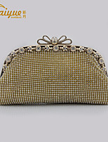 Women Bags Metal Evening Bag Crystal Detailing for Event/Party All Season Gold Silver