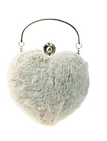 Women Bags Fur Evening Bag Buttons Feathers / Fur Pearl Detailing for Wedding Event/Party All Season Beige