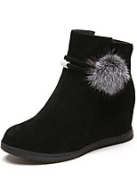 cheap -Women's Shoes Nubuck leather PU Winter Comfort Boots Round Toe For Casual Red Brown Black