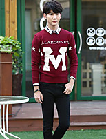 Men's Others Casual Regular Pullover,Print Round Neck Long Sleeves Polyester Fall/Autumn Medium Micro-elastic