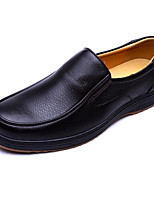 Men's Shoes Cowhide Spring Fall Comfort Loafers & Slip-Ons For Casual Dark Brown Black