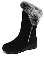 preiswerte -Damen Schuhe Kaschmir Winter Schneestiefel Stiefel Runde Zehe Mittelhohe Stiefel Für Normal Schwarz Burgund