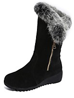 abordables -Mujer Zapatos Cachemira Invierno Botas de nieve Botas Dedo redondo Mitad de Gemelo Para Casual Negro Borgoña