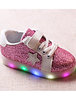 cheap -Girls' Shoes Leatherette Winter Fall Comfort Sneakers Walking Shoes Lace-up Magic Tape for Casual Gold Silver Pink
