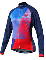 Arsuxeo Cycling Jersey Women's Long Sleeves Bike Jersey Reflective Strip Fast Dry Breathability Softness 100% Polyester Patchwork Spring