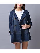 economico -Giacca di jeans Da donna Casual Semplice Inverno Autunno,Tinta unita Colletto Cotone Standard Maniche lunghe Oversized
