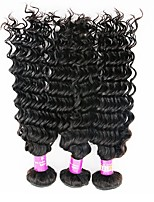 cheap -Indian Deep Wave Human Hair Weaves 3pcs 0.3