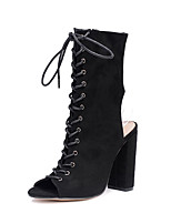 cheap -Women's Shoes Suede All Season Comfort Novelty Fashion Boots Boots Peep Toe Rivet For Wedding Party & Evening Black