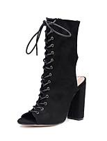 preiswerte -Damen Schuhe Wildleder Alle Jahreszeiten Modische Stiefel Komfort Neuheit Stiefel Peep Toe Niete Für Hochzeit Party & Festivität Schwarz