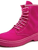 cheap -Women's Shoes Suede Winter Combat Boots Boots Round Toe Mid-Calf Boots For Casual Fuchsia Black
