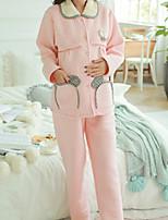 Costumes Pyjamas Femme,Baiser Coton Polyester Rose Claire Lavande