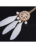 Women's Statement Necklaces Wings / Feather Imitation Pearl Alloy Bohemian Jewelry For Party Daily