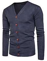 Men's Daily Casual Active Regular Cardigan,Solid V Neck Long Sleeves Polyester Winter Fall Thin Micro-elastic