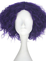 cheap -Men Adult Short Kinky Curly Hair Unisex Purple Color Movie Role Play Hair Cosplay Wig Halloween