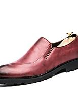 Недорогие -Для мужчин обувь Дерматин Кожа Осень Удобная обувь Модная обувь Кеды Назначение Повседневные Черный Красный