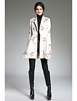 cheap -ZIYI Women's Going out Work Sophisticated Spring Fall Trench coat,Floral Print Stand 3/4 Length Sleeves Regular 100% Polyester