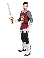 Spartiates Rétro Rome antique Costume Masculin Tenue Rouge Vintage Cosplay Polyester Manches Longues