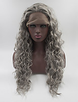 Women Synthetic Wig Lace Front Medium Length Long Grey Natural Wigs Costume Wig